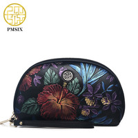Pmsix 2017 New Women Clutch Bag Genuine Leather Embossing Black Clutch Purse Vintage Women Evening Bags