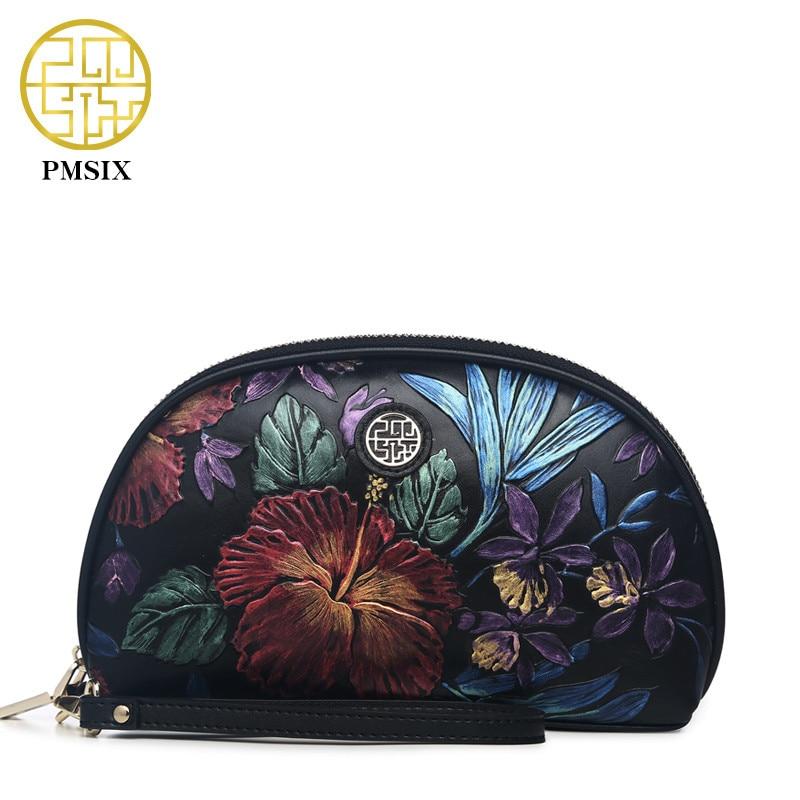 Pmsix 2018 Новый Для женщин клатч натуральная кожа тиснение черный клатч кошелек Винтаж Для женщин вечерние сумки bolsa feminina P510005