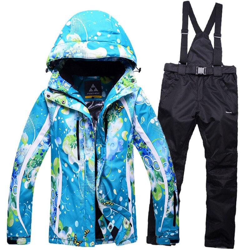 Prix pour Hiver Ski Vêtements Costumes de Ski Veste et Pantalon pour Femmes Coupe-Vent Imperméable Snowboard Costume D'hiver de Neige Manteau et Pantalon Femmes