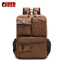 Men S Black Brown Canvas Backpack Tactical School Laptop Backpack The New Classic Retro Rivet Solid