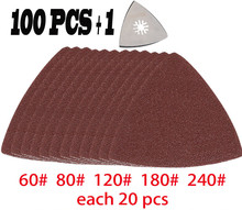 Tampon de ponçage triangulaire + 100 pièces feuille de ponçage pour outils oscillants multimaster accessoires comme Fein, Dremel etc.