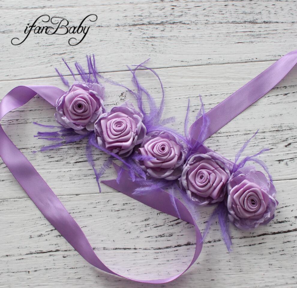 Модные туфли со стразами узор атласной ткани цветок пояса ленты для девочки пояс - Цвет: 04