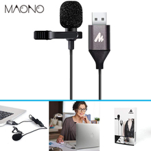 USB Microfone De Lapela Mic HandsFree MAONO Camisa Colar Clip-on Microfone de Lapela Microfone Condensador para PC Computador Laptop YouTube
