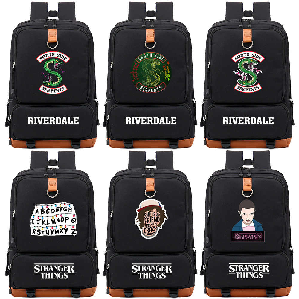 TV Series Riverdale Stranger Things Boy Girl Children School bag Women Bagpack Teenagers Schoolbags Canvas Men Student Backpack