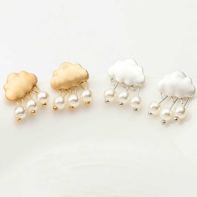 เมฆเม็ดฝนริมธรรมชาติแม่มุกลูกปัดต่างหู2สีเอเชียสง่างามจำลองมุกเมฆน้ำฝนS Tud E Arrings
