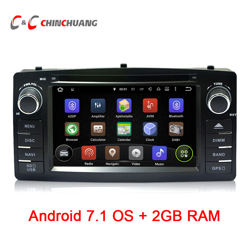 Updated Android 7.1 Quad Core for BYD F3 Toyota Corolla E120 Car DVD GPS with Radio 3G/4G Wifi USB/SD BT DVR, Support DAB+ OBD