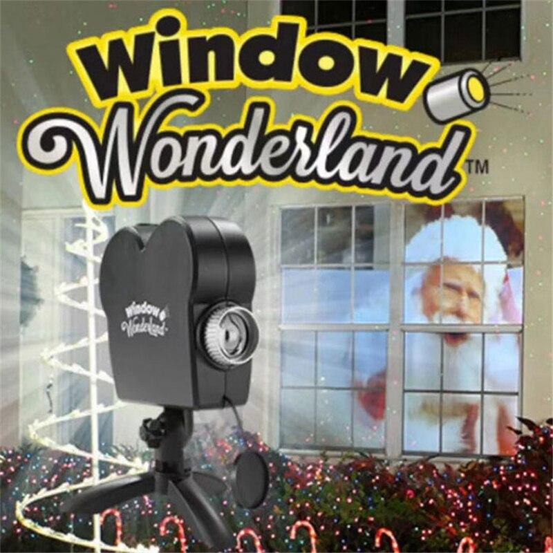 Mini projetor laser janela mostrar incluído 12 filmes em movimento interior ao ar livre luz de palco projetores para festa de natal dia das bruxas