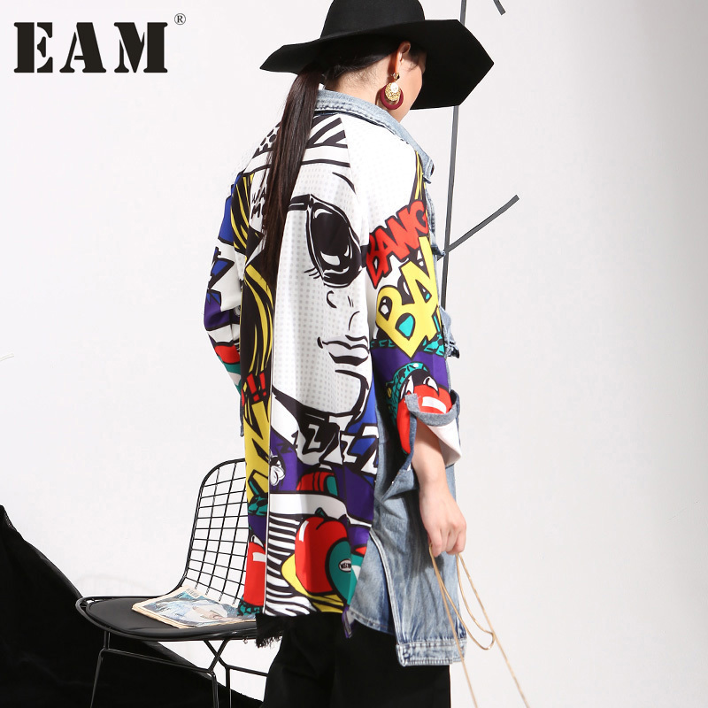 [EAM] 2018 New Autumn Lapel Printed Cowboy Split Joint Loose Long Big Size Denim Jacket Women Coat Fashion Tide W0145