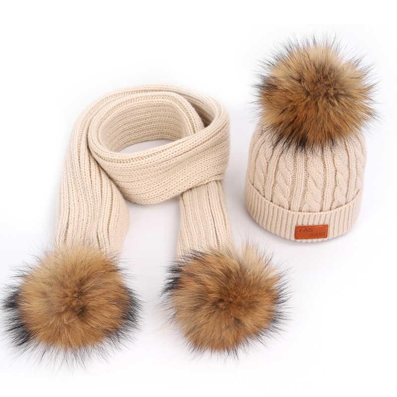 Вязаный детский шарф, шапка и перчатки, комплекты для мальчиков и девочек, теплые удобные детские шапки с помпонами из меха енота на осень и зиму