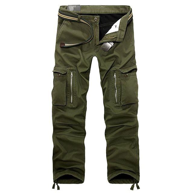 Inverno Homens Casuais Vários Bolsos Militar engrossar Calças De Lã Plus Size Calças da Carga Dos Homens Soltos calças Quentes termais 101403
