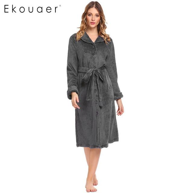 Ekouaer Women Robe Solid Casual Turn-down Collar Kimono Long Sleeve Velvet  Loose Winter Warm Bathrobe Gown Dress Sleepwear 7393d959c