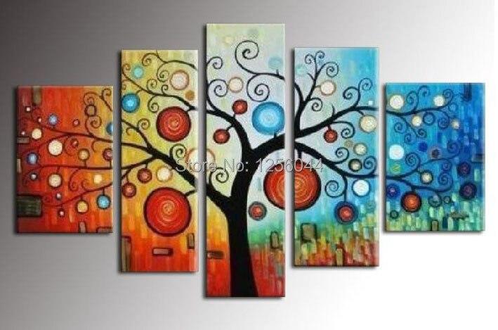 100% ручной росписью современных стены домашнего декора Холст денежное дерево картина маслом пейзаж 5 шт./компл. с деревянной рамке