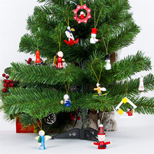 12 традиционная деревянная Рождественская елка висячие украшения качалка для дома декоративная игрушка барабан Ангел безделушки Рождественский орнамент
