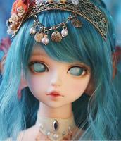Full Set free makeup & eyes included !top quality 1/4 bjd doll human animal serin rico the little mermaid blue red clothes wig