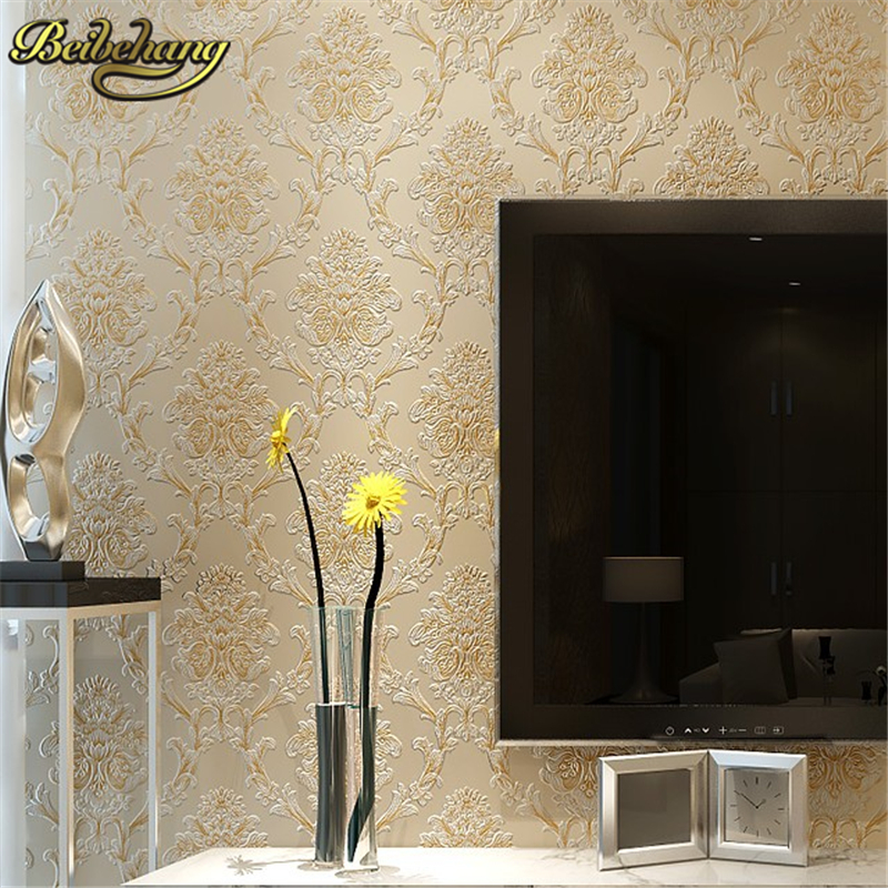 beibehang Damascus thickened wallpaper roll for wall paper for living room wall paper mural papel de parede 3D Home Decoration ipartsbuy asus zenpad 10 z300c z300cg z300cnl z300m z300cl lcd screen touch screen digitizer assembly with frame with logo
