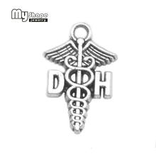Charm Gift-Pendants Jewelry-Making DIY Graduation 30pcs for Medical-Symbol Caduceus Dental-Hygienist