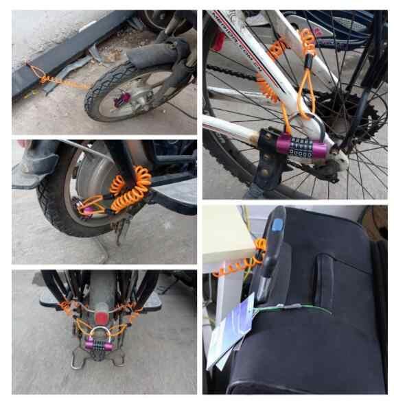Robesbon 5 Warna 1.2 M Anti Pencurian super tarik Sepeda Kunci Kawat Tali Helm Skuter Disc Musim Semi Kawat Kunci