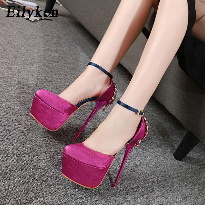 Eilyken 2019 New Crystal Silk Women Pumps Shoes Round Toe Buckle Strap High Heel 16.5cm Party Extreme Platform Pumps Sandals