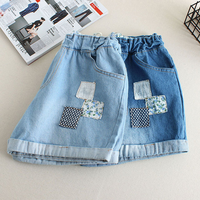 New Summer Women Fashion Shorts Patch Cuffed Drawstring Elastic Waist Denim Shorts Female