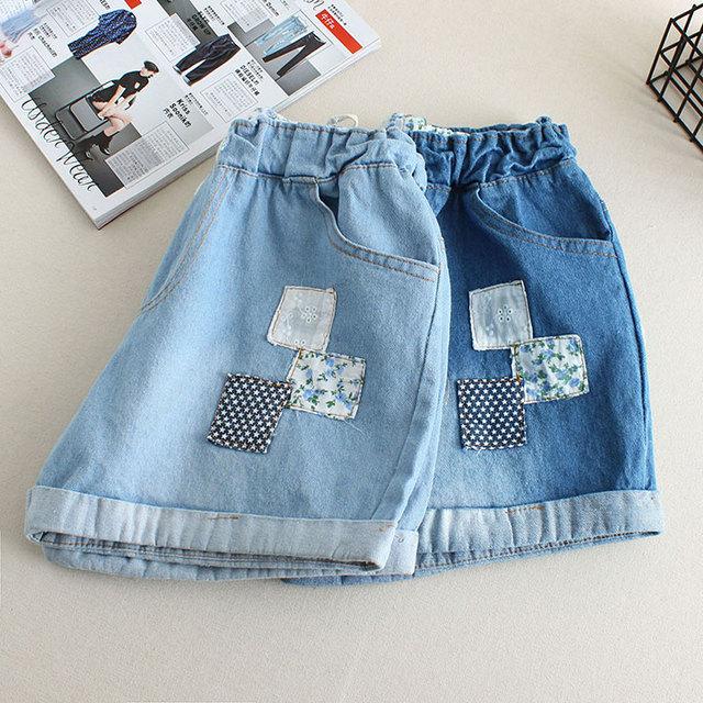 Nova verão mulheres moda Shorts Patch Cuffed cordão elástico na cintura Shorts jeans feminino