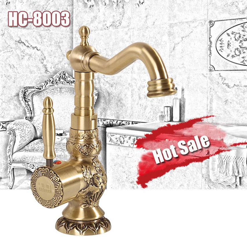 1PC HC-8003 High Quality New Arrival 1988g Continental Antique copper ceramic cartridge Hot and Cold Water basin faucet
