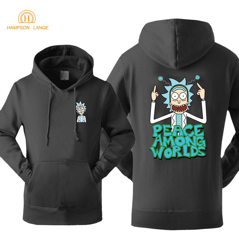 Science Moive Hoodie Rick And Morty Peace Among Worlds Print Funny Hoodies 2019 Spring Autumn Sweatshirts Men Warm Fleece Jacket