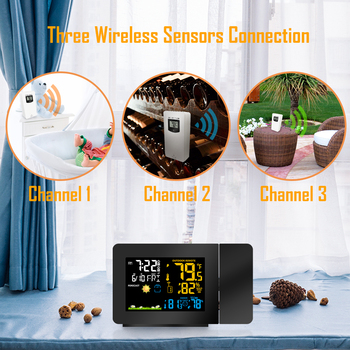 Weather Station 3 Outdoor Sensors Projection Clock Weather Station with Temperature Sensor Colorful LCD Display Weather Forecast фото