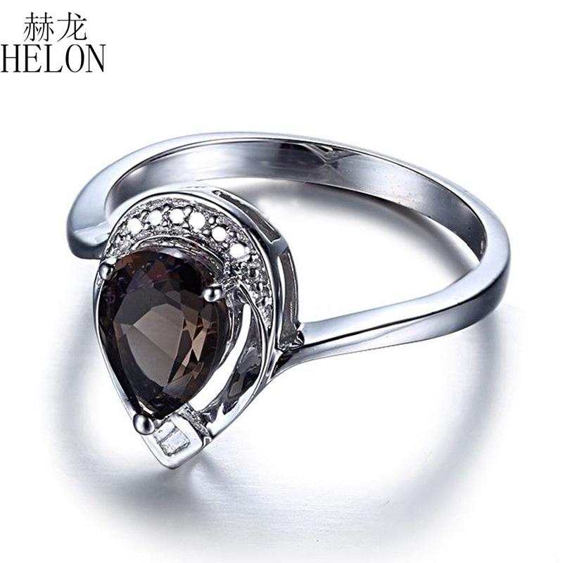 HELON Sterling Silver 925 Flawless Pear Cut 1.12CT Smokey Quartz Real Diamond Ring Engagement Wedding Fine Jewelry Gemstone Ring helon sterling silver 925 flawless 11x9mm emerald cut 4 36ct real blue topaz natural diamond engagment wedding ring fine jewelry