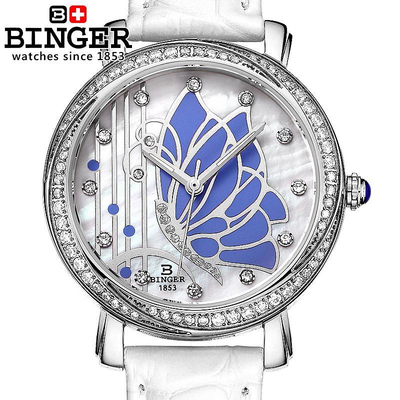 Switzerland Binger Women's watches fashion luxury watch leather strap quartz  butterfly diamond Wristwatches B-3019L-2