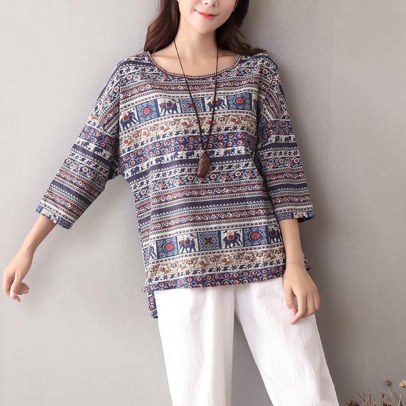 f3d22dbeca401b Autumn Women Cotton Linen Elephant Striptd Print Tee Shirts Tops Vintage  Ladies Three Quarter Sleeve Irregular Loose T shirts