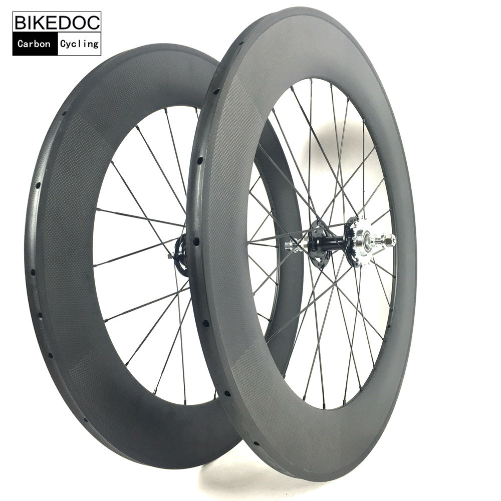 BIKEDOC Carbon Wheels 700C Tubular And Clincher700C Fixed Gear Chinese Carbon Wheelset Track Bicycle Wheel 1set front and rear 700c road bike wheel bicycle magnesium alloy three spokes parts integrated wheel fixed gear single speed