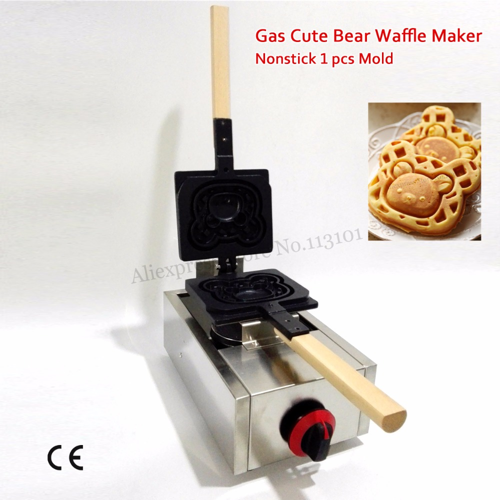 Gas Cute Bear Waffle Stove Stainless Steel Non-stick Cartoon Bear Waffle Maker Brand New cute bear shaped stainless steel pendant titanium