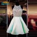 Alta qualidade A linha curta vestidos Halter mangas Backless frisada de cristal feito vestido de festa Sexy Prom vestido