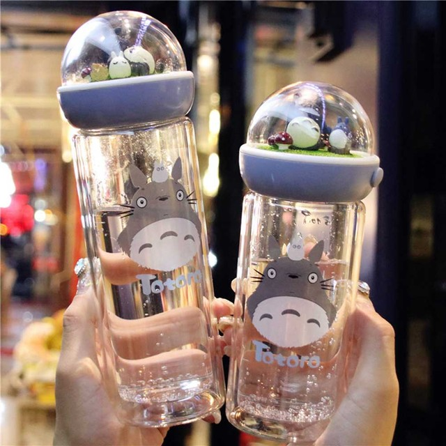 Kwaii Totoro carring bottle double layer ovenproof glass bottle silicone seal Microlandscape drinkware