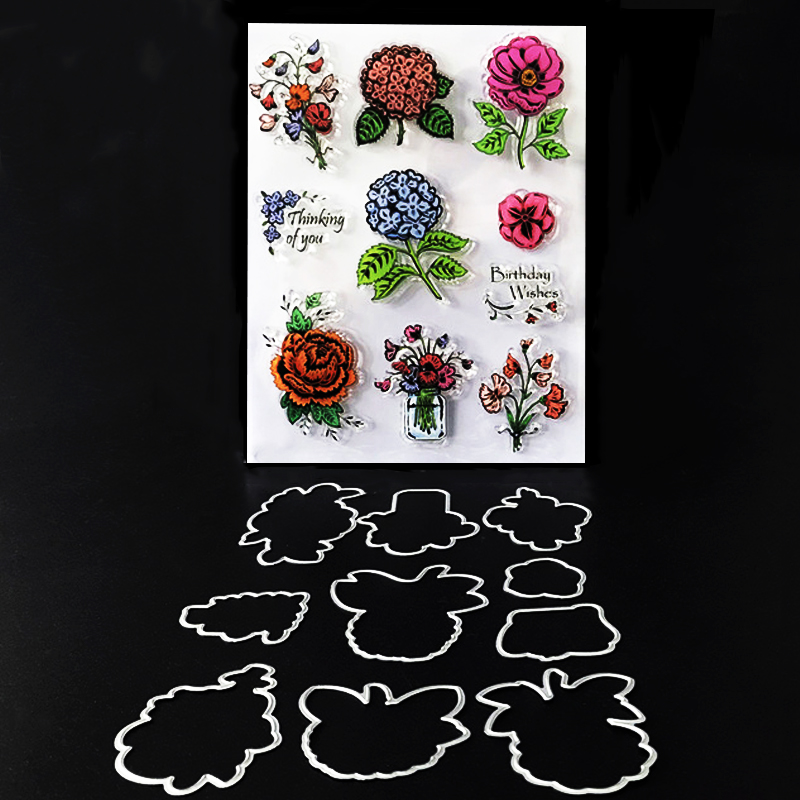 flower frame stamp dies Clear rubber stamp and flower metal cutting dies set  craft stamp with dies  for scrapbook card making pig silicone clear stamp metal cutting dies stencil frame scrapbook album decor clear stamps scrapbooking accessories