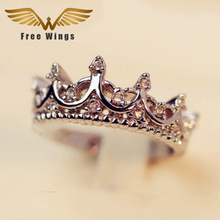 Free W ings Queen's Silver Crown Rings For Women Punk Brand  Crystal Jewellery Love Rings Femme Bijoux wedding engagement rings