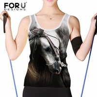 FORUDESIGNS Gray 3D Horse Women Fashion Tank Tops Summer Short Sleeved Woman Crop Tops For Teen