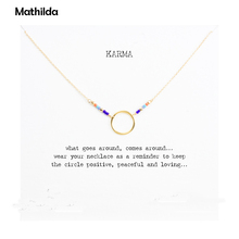 Hot Sale Karma Multi-color Seed Bead Necklace Gold Dipped Pendant Necklace Clavicle Chain Statement Necklace Women JeweleryT0312