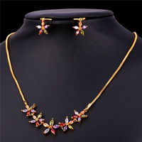 Zirconia Crystal Flower Jewelry Earrings And Necklace Set Gold Color Bridesmaid Wedding Crystal Jewelry Set Women