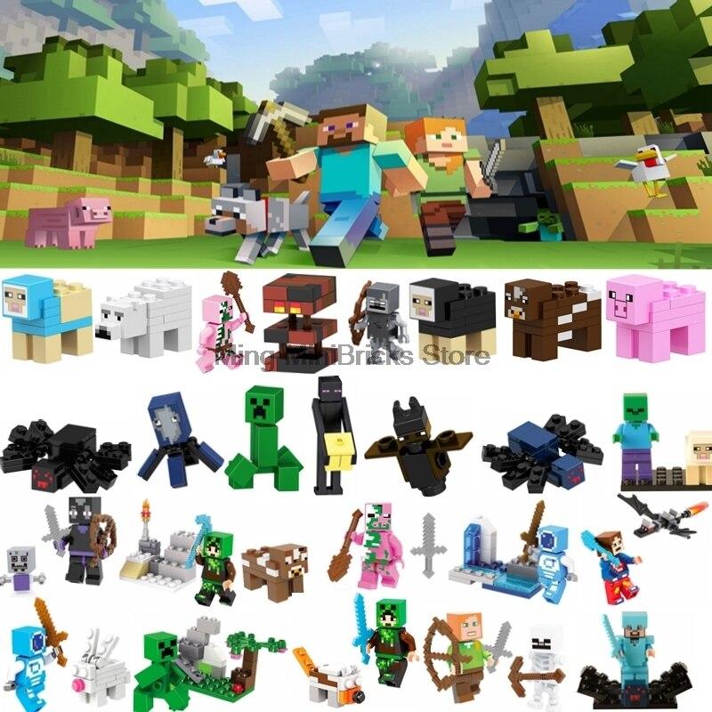 Single Sale Legoing Minecraft Action Figures Building Blocks My World Zombie Steve Toys For Children Minecraft Legoings Block
