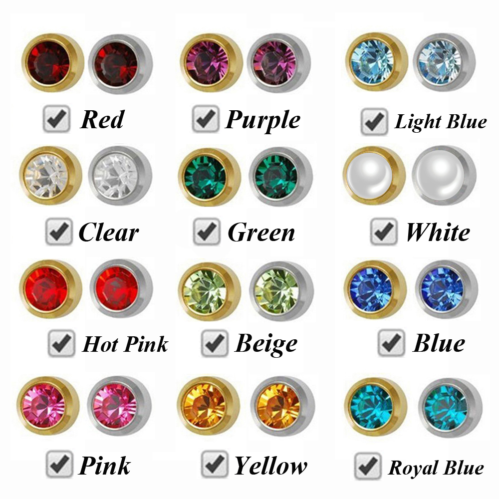 Earrings Packed Piercing-Gun Sterile Safe Birthstone Ear-Stud Gold Baby Mixed-Silver