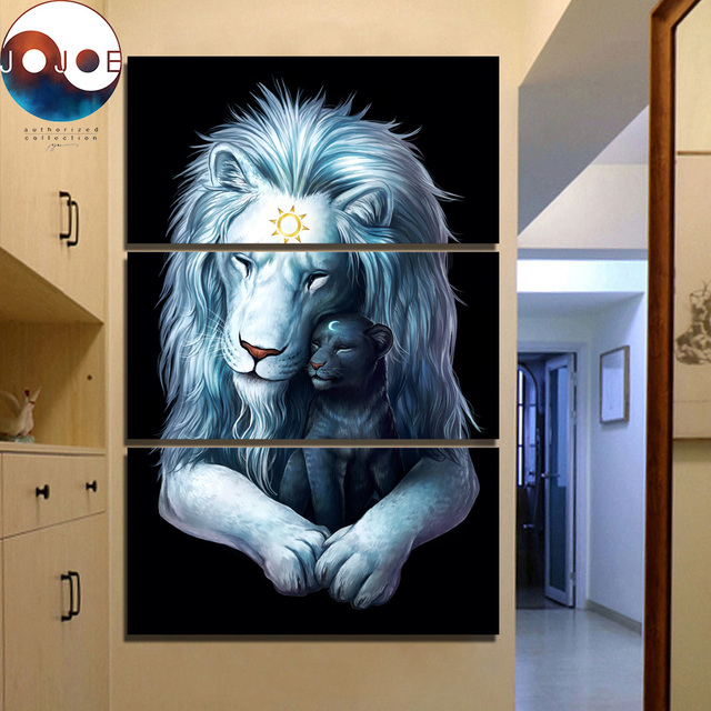 Child Of Light Black By JoJoesArt HD Print 3 Piece Canvas Art Lions Wall Pictures For
