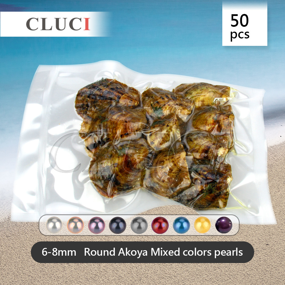 Mixed random colors pearls oysters 50pcs 6-8mm saltwater akoya, 10pcs in one vacuum bag, big surprise at a party