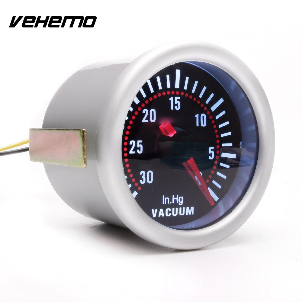 Vehemo Motormeter Vacuum Gauge Modified Instrument Cars Metal Universal Instrument Panel Gauge Dashboard Motors