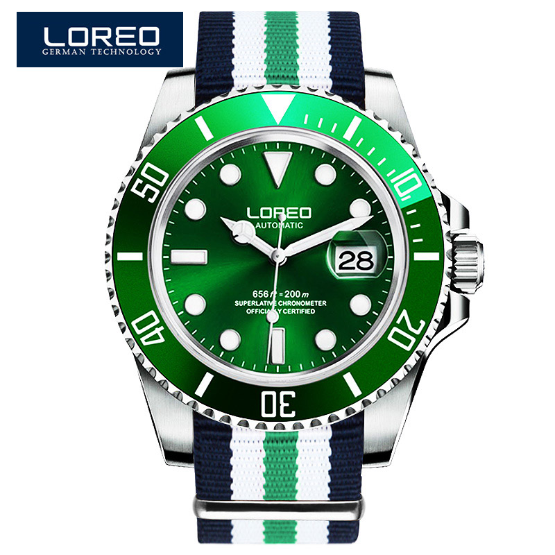 LOREO Men Watches Submariner Diver 200m luxury Top brand Green Luminous Sapphire Automatic Mechanical Watch Relogio Masculino loreo men mechanical wrist watch watches luminous stainless steel luminous 200m waterproof diver watch montre homme saat k44