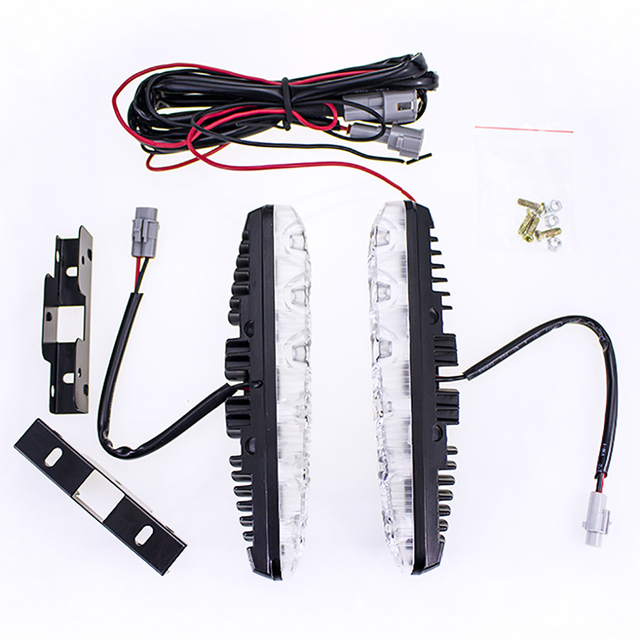 Carro de Alta Potência Feixe de Alta E baixa de Alumínio Perto E de Longe LED de Luzes Diurnas Com Lente DC12v Xenon Branco DRL À Prova D' Água BJ