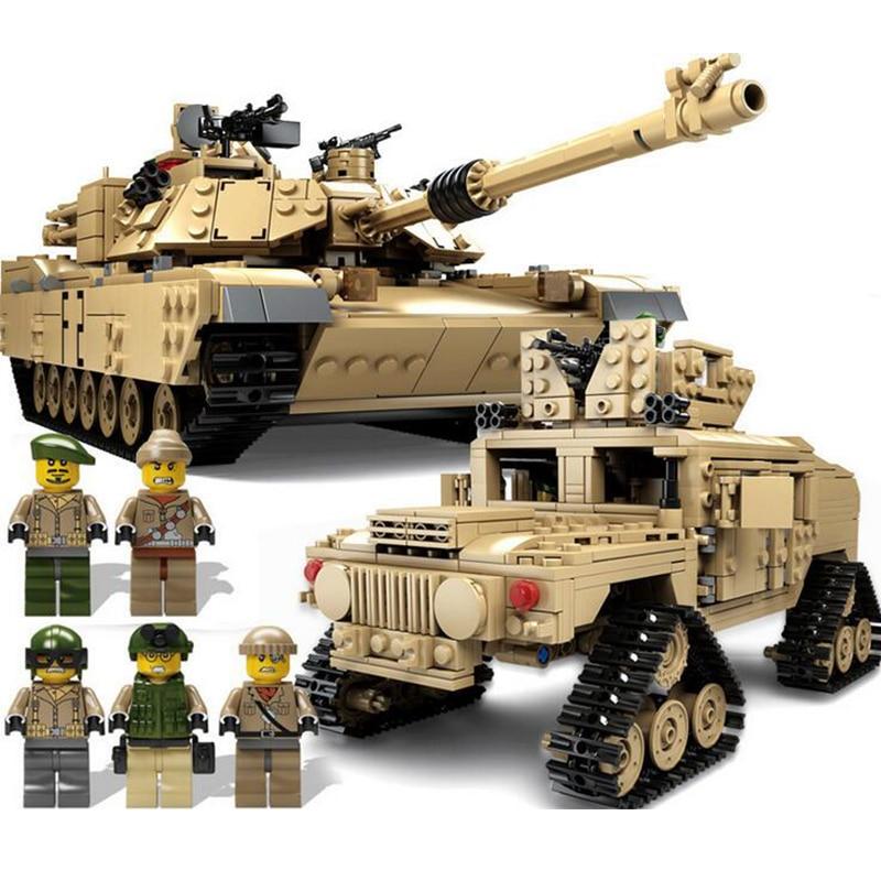 KAZI 10000 Century Military M1A2 Abrams Tank Cannon Deformation Hummer Car Building Blocks Brick Toys For Children радиоуправляемый танковый бой huan qi abrams vs abrams масштаб 1 24 27mhz vs 40mhz