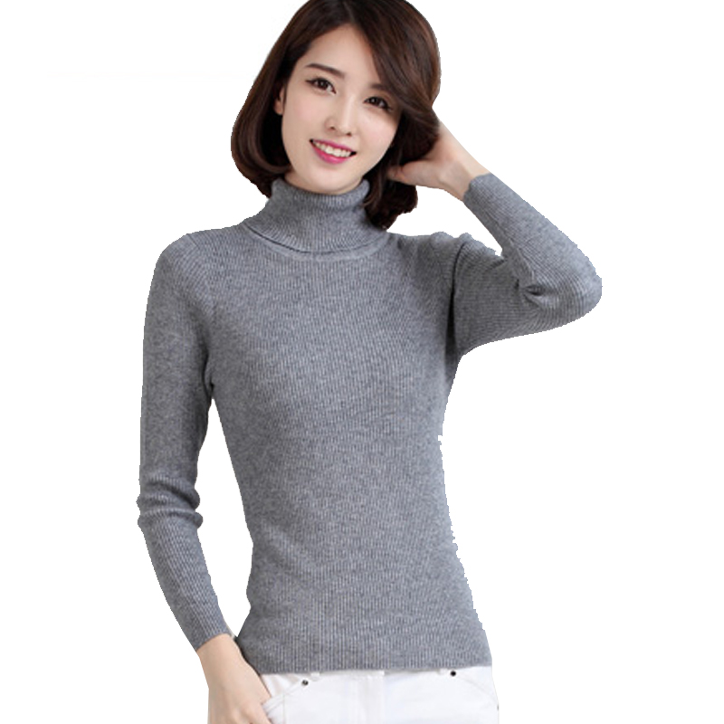 Slim fit cashmere rib jumpers for women winter thick high for Thick white shirt womens