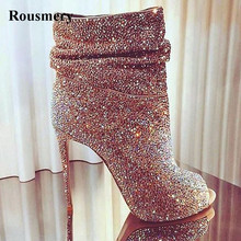 Hot Selling Women Fashion Open Toe Bling High Heel Rhinestone Ankle Boots Super Crystal Short Dress Shoes