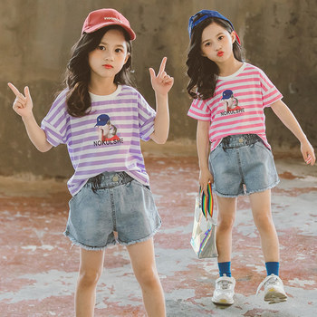 New Summer Teen Girls Clothing T shirt Shorts Set 2020 Teenage Girls Clothing 4 6 8 10 12 13 Years Old Kids Striped Clothes Set